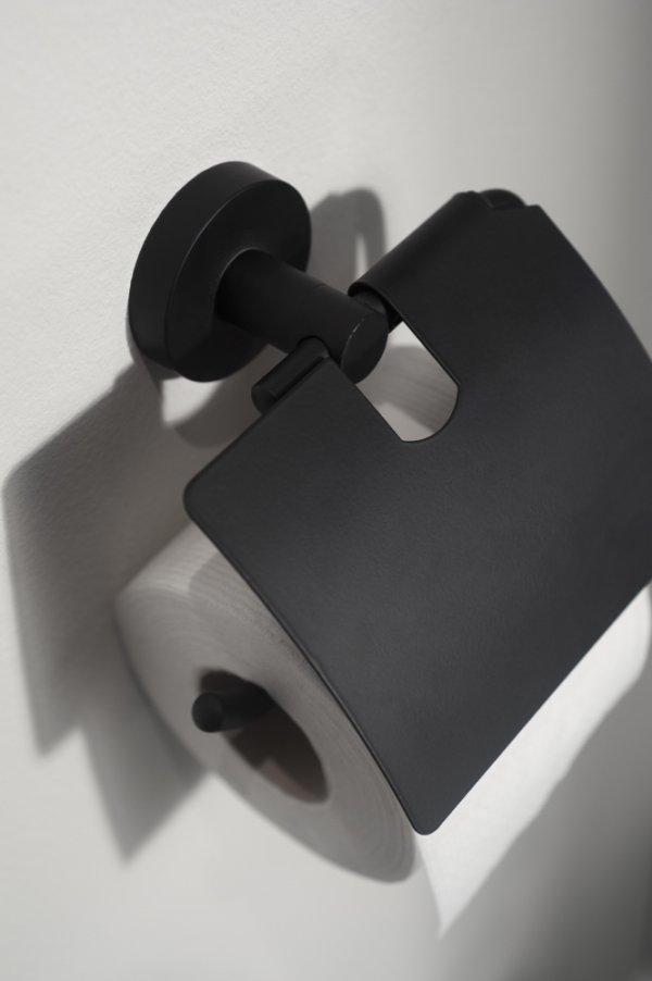 Kosmos toiletrolhouder met klep mat zwart